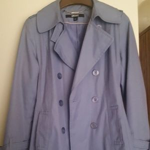 Dusty blue rain/trench coat. Excellent condition